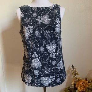 Evan-Picone Blue Floral Top Sleeveless Blouse 12